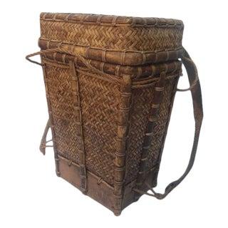 Vintage Philippine Woven Ifugao Backpack Basket For Sale