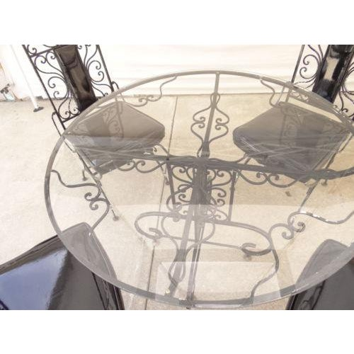 Metal Vintage Regency Iron Patio Dining Set For Sale - Image 7 of 13