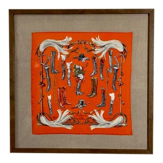 "Framed Vintage Unused Hermès Silk Scarf ""Propos De Bottes"" For Sale"