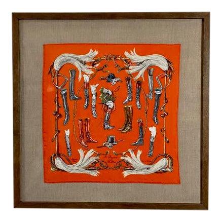 """Framed Vintage Unused Hermès Silk Scarf """"Propos De Bottes"""" For Sale"""