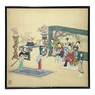 1880s Chinese Silk Painting on Silk Depicting Ladies Playing Music and Dancing, Framed For Sale