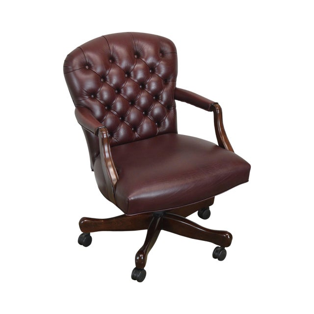 Oxblood Red Leather Tufted Chesterfield Style Executive Office Desk Chair (E) For Sale