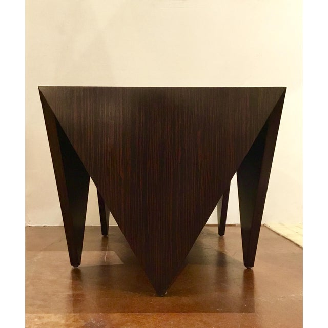 Original Retail $1890, stylish linear Pair of John Richard's Amara Point Tables, finished in a Macassar Ebony, showroom...