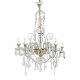 1940s Tall Neoclassical Blown and Cut Clear Glass Nine Light Chandelier For Sale