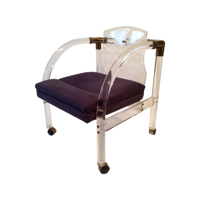 Mid-Century Lucite & Brass Lounge Chair - Image 1 of 9