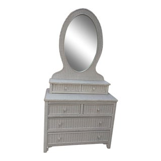 Henry Link White Wicker Dresser With Mirror For Sale