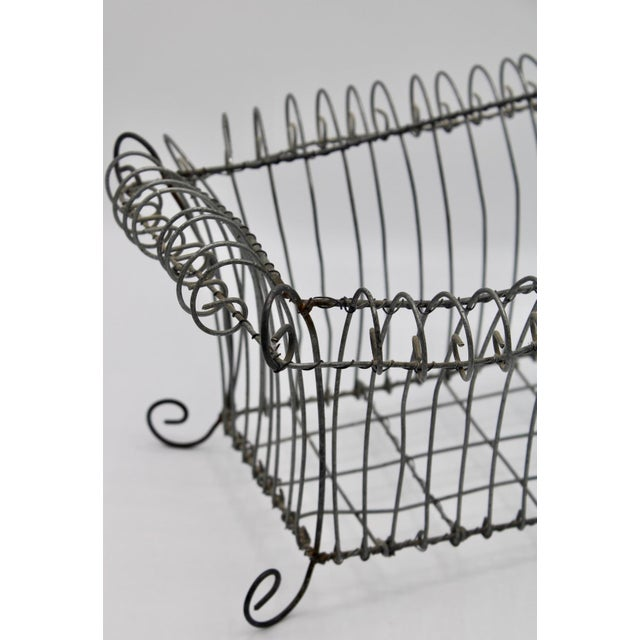 Antique French Jardiniere Footed Wire Basket For Sale - Image 4 of 7