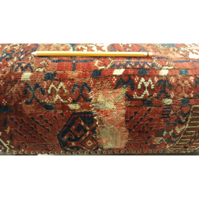 Arts & Crafts Large Scale Ottoman Upholstered With a Vintage Rug Textile For Sale - Image 3 of 13