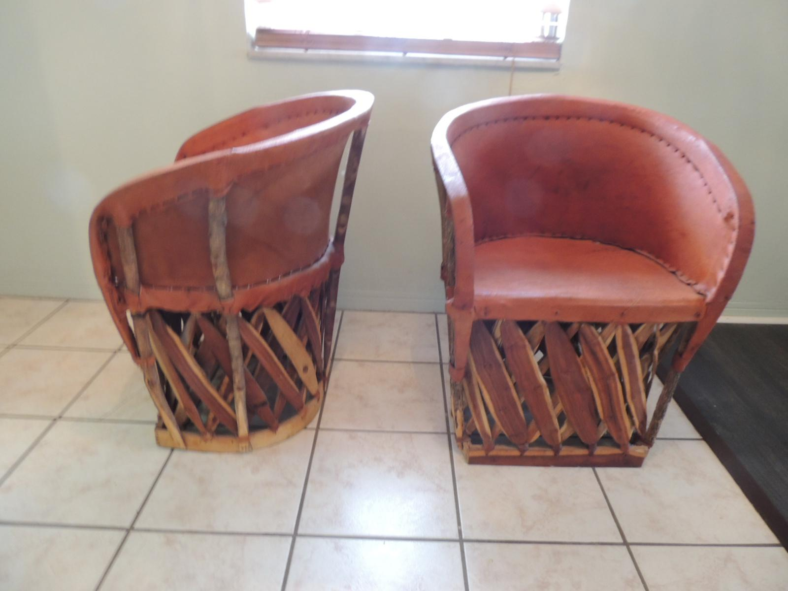 Mexican Equipale Wood And Leather Chairs   A Pair For Sale   Image 4 Of 8