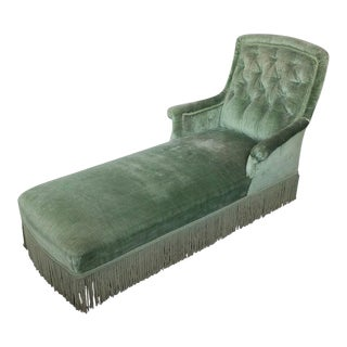 19th Century Light Green Velvet Chaise For Sale