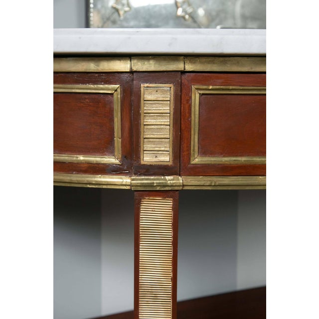 Jansen Marble Top Demilune Console Tables - A Pair - Image 3 of 9