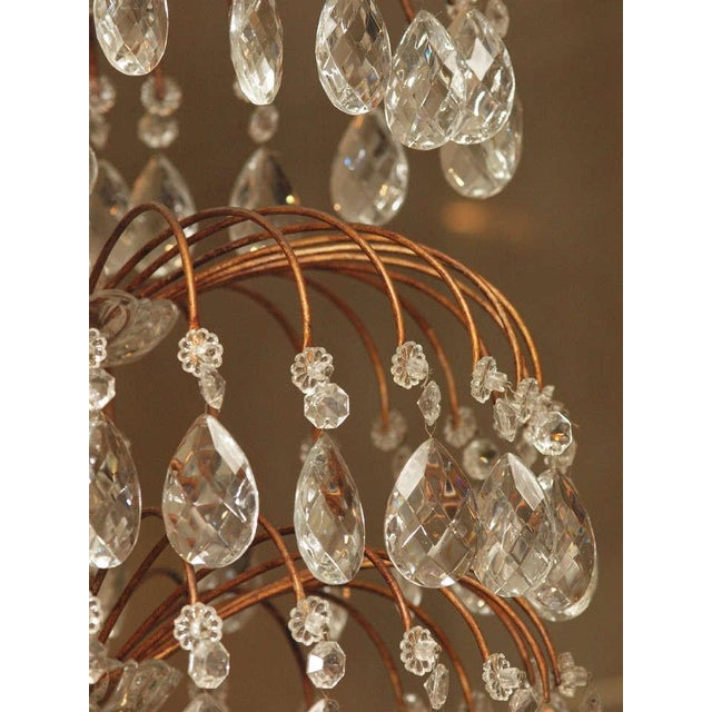 Gold Italian 18 Lite Crystal Tiered Chandelier For Sale - Image 8 of 10