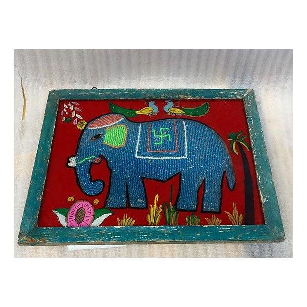 Beaded Indian Elephant Églomisé For Sale - Image 5 of 5