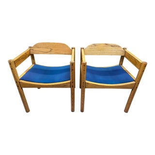Thonet Blue Upholstery + Solid Oak Armchairs - A Pair For Sale