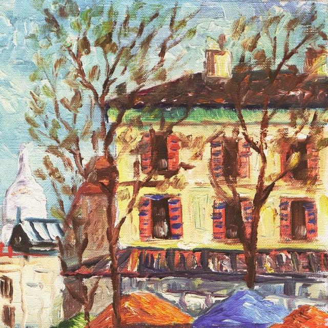 'Place Du Tertre, Montmartre, Paris' by Rammy, Mid-Century Post-Impressionist Oil For Sale - Image 4 of 9