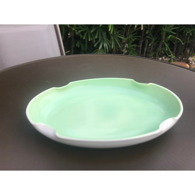 Vintage Mid-Century Mint Green Ceramic Quatrefoil Tray or Dish For Sale - Image 12 of 13