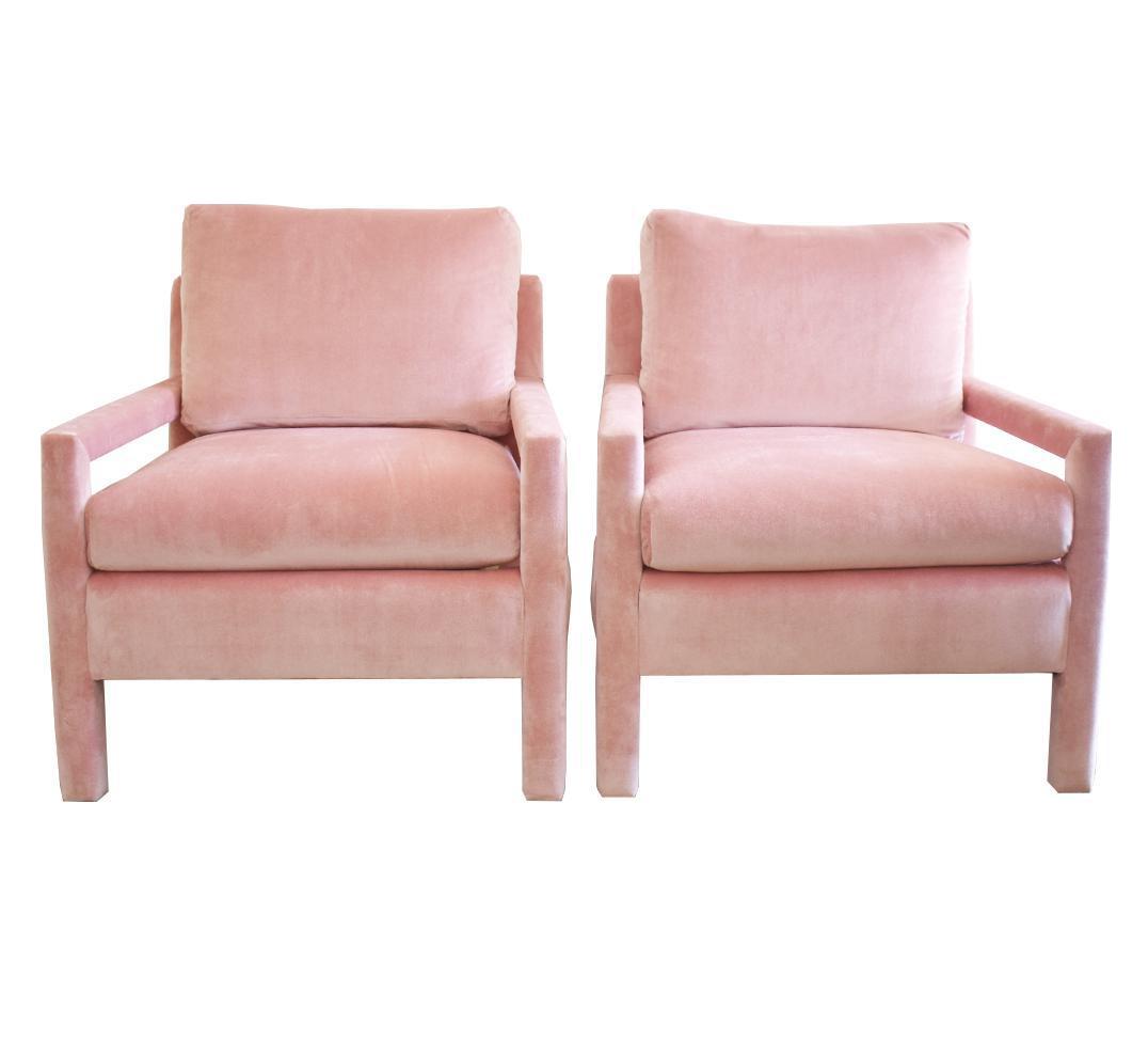 Milo Baughman Parsons Style Pink Velvet Lounge Chairs   A Pair