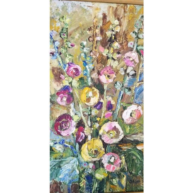 Signed original oil on canvas painting by Jaga Prokopiuk (20th century Poland) Depicts a floral still life in the...