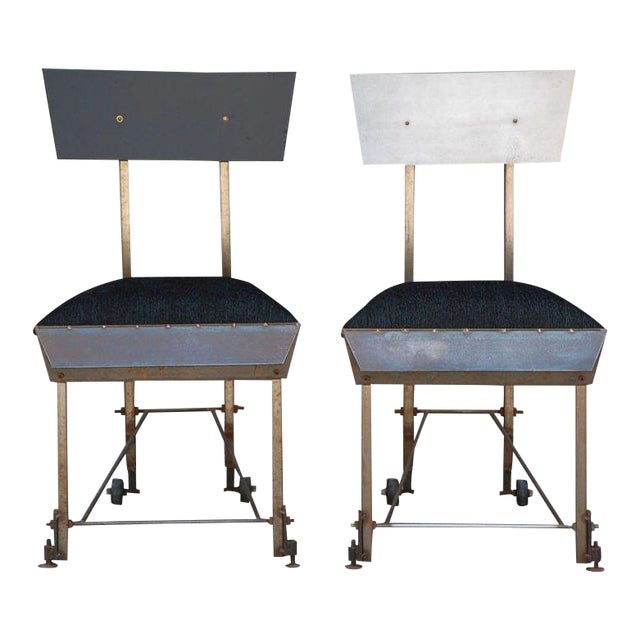 Set of 8 unusual modernist dining chairs. Host and hostess chairs with painted wood back, 6 side chairs with aluminum...