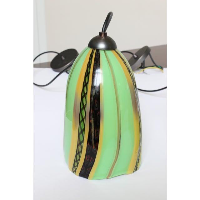 Oggetti Oggetti Luce Art Deco Venetian Mouth Blown Glass Pendant Light For Sale - Image 4 of 7