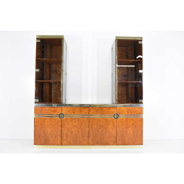 1970s Pierre Cardin Signed Burl Wood Sideboard With Two Tower Cabinets, France For Sale - Image 13 of 13