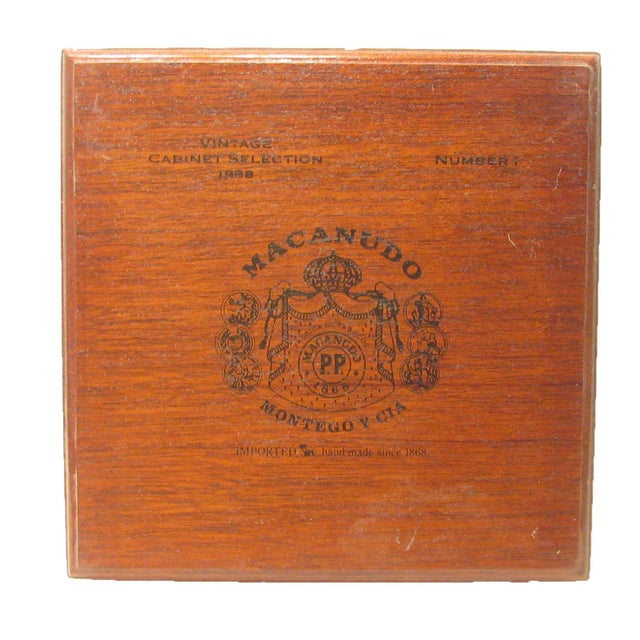 Handsome rich auburn mahogany box formerly used to hold expensive Jamaican Cabernet Selection cigars. Stepped edges,...