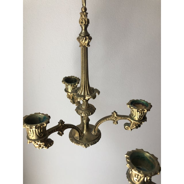 Metal French Regency Gilt Bronze Hanging Candelabra Chandeliers - a Pair For Sale - Image 7 of 9