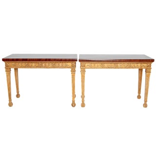A PAIR OF GEORGE III STYLE GILTWOOD CONSOLE TABLES For Sale