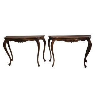 19th Century Walnut Consoles - a Pair For Sale