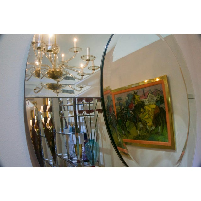 Late 20th Century Round Mirror With Beveled Edges, Art Deco Revival For Sale - Image 5 of 8