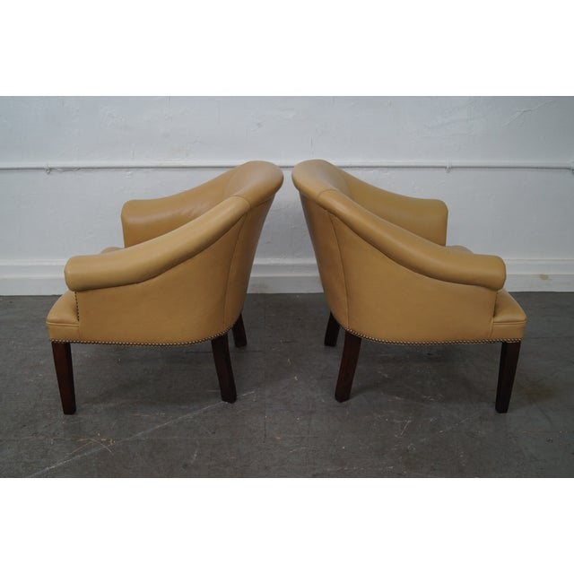 Quality Leather Barrel Back Arm Chairs - Pair - Image 4 of 10