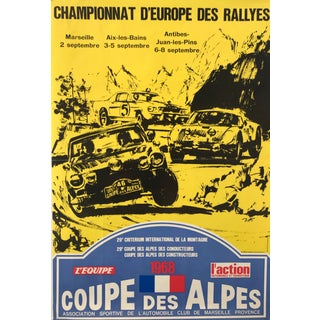 Coupe Des Alpes, 1968 French Car Rally Poster For Sale