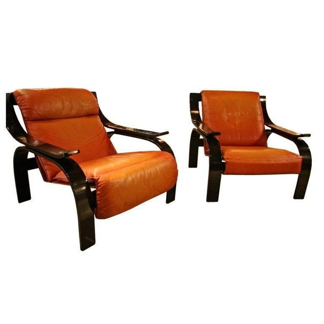 Animal Skin Pair of Marco Zanuso Armchairs in Leather for Arflex For Sale - Image 7 of 7