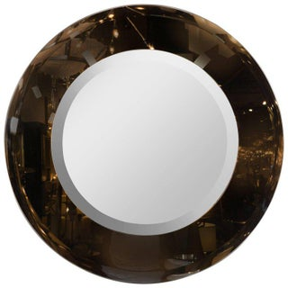 Modernist Smoked and Beveled Circular Mirror in the Manner of Karl Springer