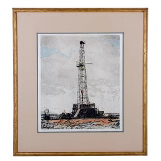 """John Collette """"Discovery Well"""" Oil Rig Etching, Oklahoma City"""