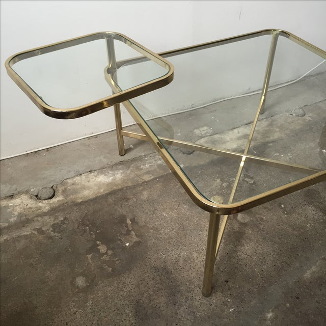 Baughman Style Brass & Glass Swivel Coffee Table - Image 5 of 9