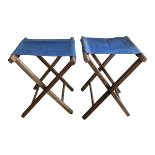 Vintage Blue Camp Stools - a Pair For Sale