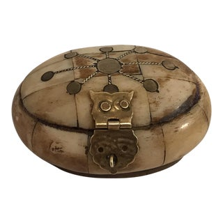 Vintage Bone & Brass Inlay Trinket Box For Sale