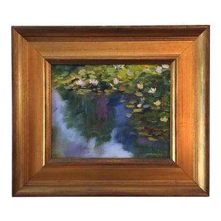 """""""Waterlilies"""" Contemporary Plein Air Landscape Oil Painting by Marina Movshina, Framed For Sale"""