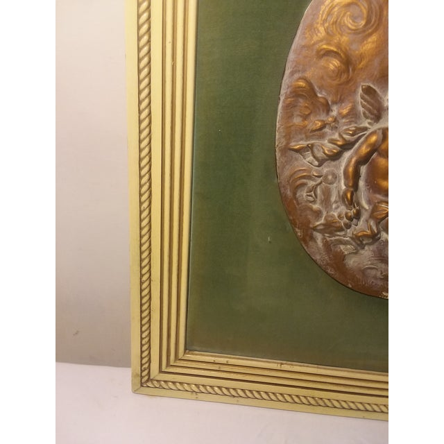 Green 1950s Vintage Cherub Putti Bas Relief Plaques - a Pair For Sale - Image 8 of 12