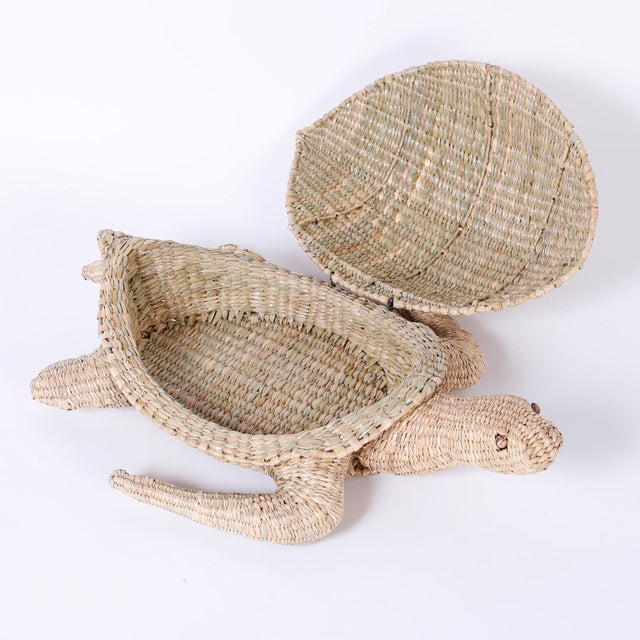 British Colonial Mario Torres Wicker Turtle For Sale - Image 3 of 8