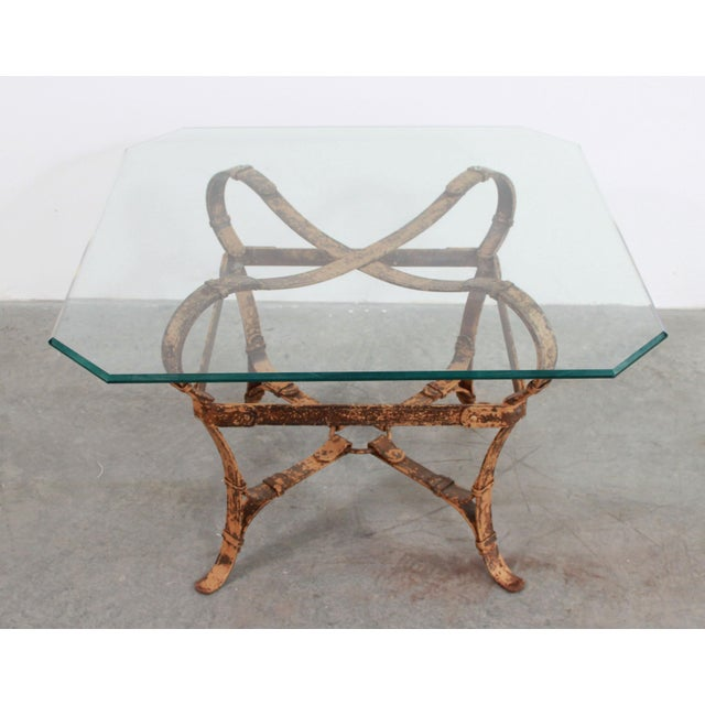Mid 20th Century Vintage Jacques Adnet / Hermes Style Cast Iron Leather Equestrian Strap Coffee Table For Sale - Image 5 of 11