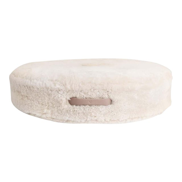 Drum Stacking Floor Cushion in Dune Shearling by Moses Nadel For Sale