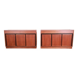Merton Gershun for Dillingham Mid-Century Modern Walnut Sideboard Credenzas, Pair For Sale