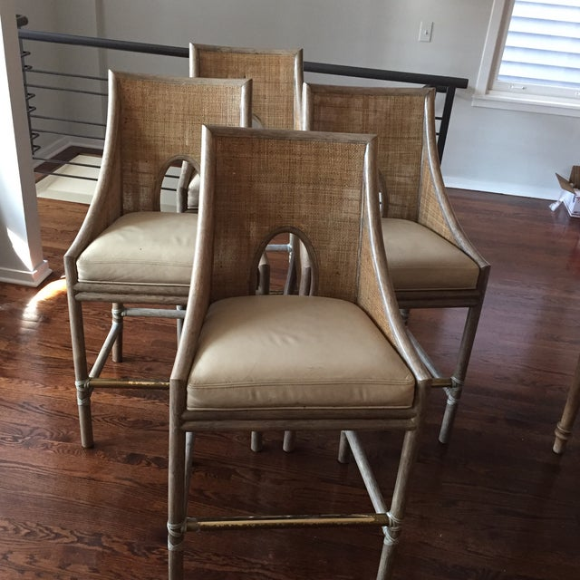 Leather Rattan Cane Counter Height Chairs - Set of 4 - Image 11 of 12
