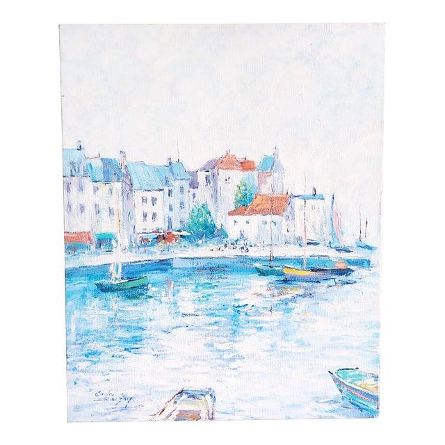 Vintage Impressionist European Mediterranean Coast Oil Painting For Sale