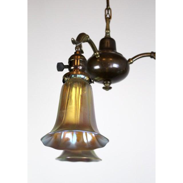 Art Nouveau 3 Light Art Nouveau Inspired Pendant For Sale - Image 3 of 7