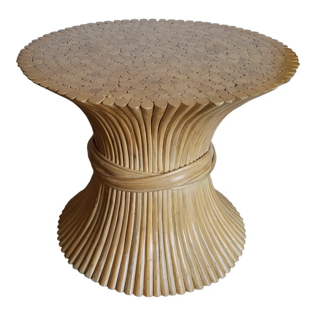 1970s Hollywood Regency McGuire Natural Rattan Bamboo Sheaf of Wheat Table For Sale
