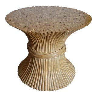 1970sHollywood Regency McGuire Natural Rattan Bamboo Sheaf of Wheat Table For Sale