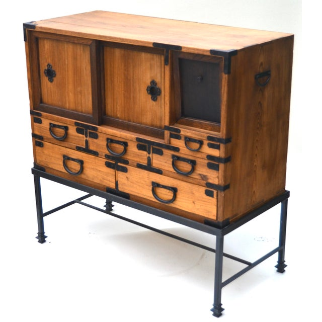 Late 19th Century Antique Japanese Choba Tansu With Iron Base For Sale - Image 5 of 12